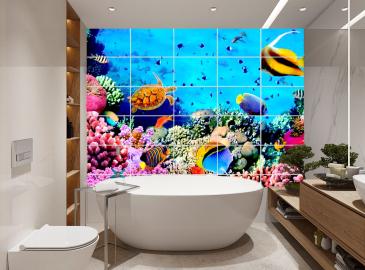 Кафельная плитка с рисунком. Плитка с изображением для стен на кухню, в ванную комнату.