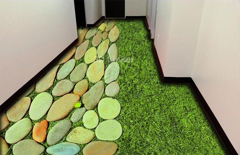 """Обои для пола в комнату """"Трава и камни, декор"""" купить визуализация №1"""