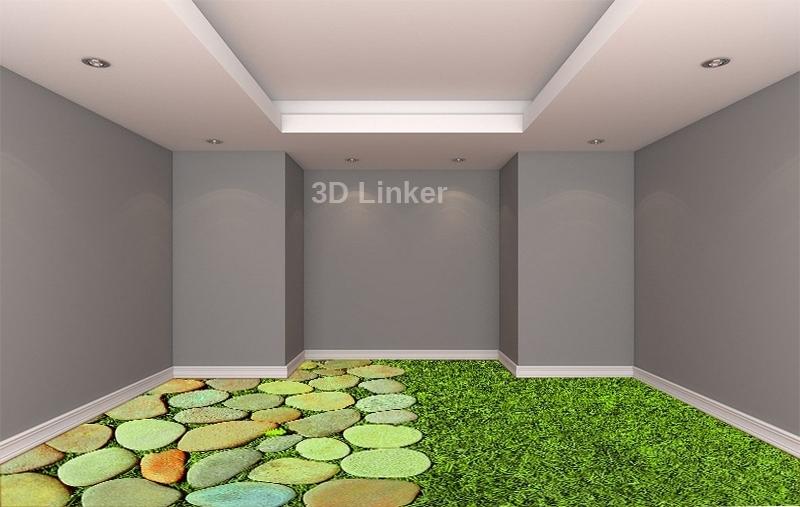 """Линолеум с изображением """"Трава и камни, декор"""" визуализация №2"""