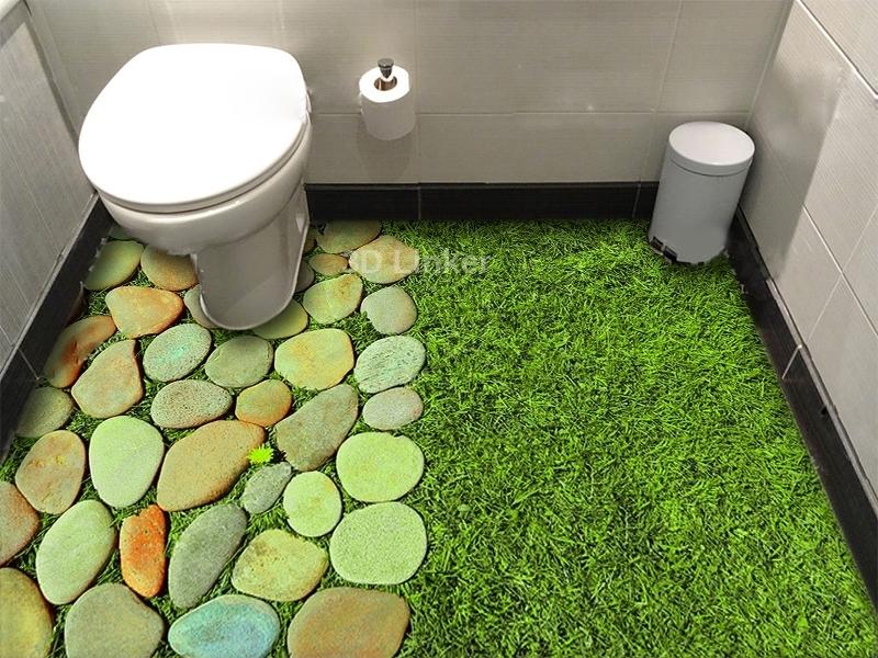 """Обои для пола в комнату """"Трава и камни, декор"""" купить визуализация №2"""