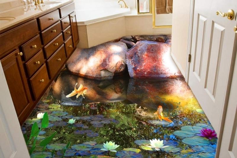 """3d обои для пола """"Пруд с золотыми рыбками, большие камни"""" купить визуализация №1"""