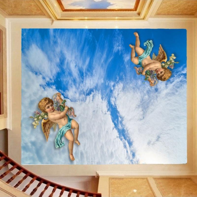 терьер фотопечать на натяжной потолок с ангелочками наповал