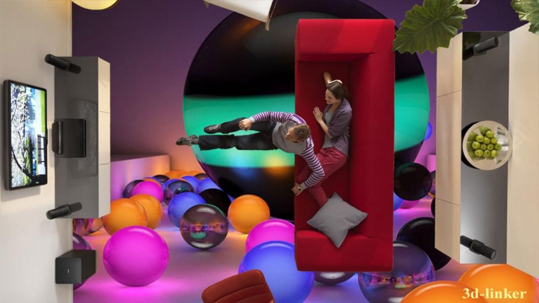"""3D обои для пола Фото Цена """"Абстракция Разноцветные Шары"""" вариант№6"""