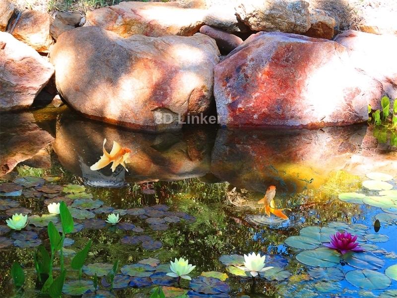 """3d обои для пола """"Пруд с золотыми рыбками, большие камни"""" купить"""