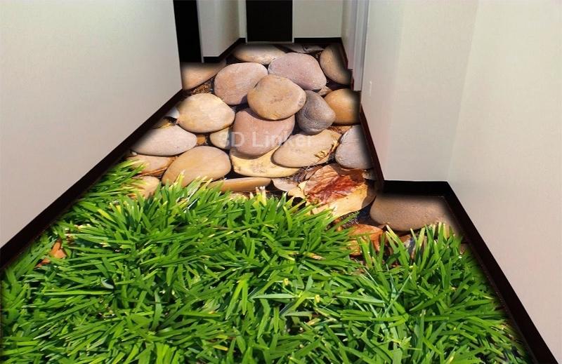 """Обои для пола в комнату """"Зеленая высокая трава и камни"""" купить визуализация №1"""