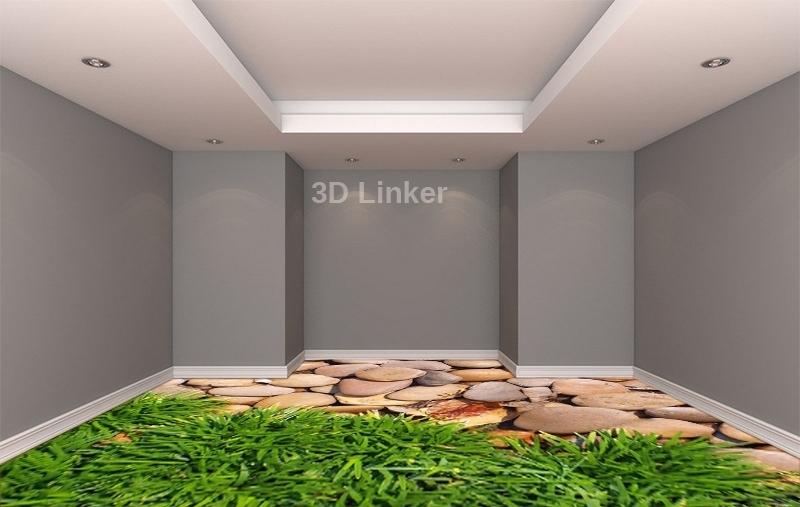 """Линолеум с рисунком купить """"Зеленая высокая трава и камни"""" визуализация №2"""