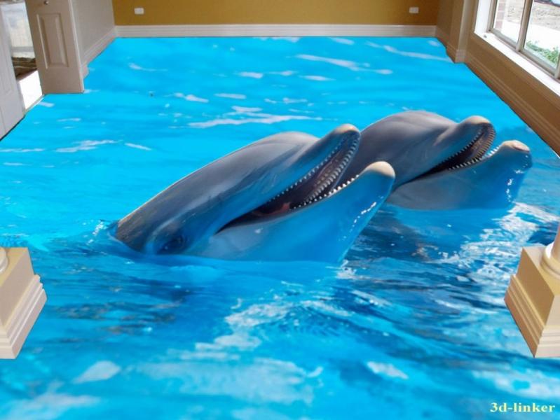 """3D обои для пола Фото Цена """"Два Дельфина"""" вариант №2"""