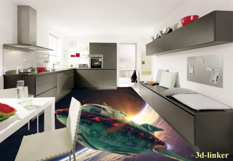 """3D обои для пола Фото Цена """"Космический корабль"""" вариант№5"""