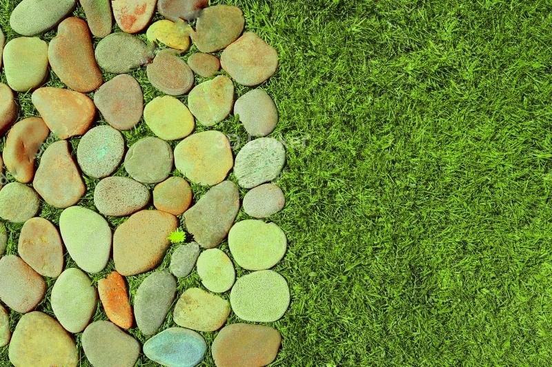 """Линолеум с изображением """"Трава и камни, декор"""""""