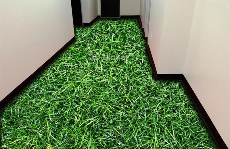 """Обои для пола в комнату """"Высокая зеленая трава"""" купить визуализация №1"""