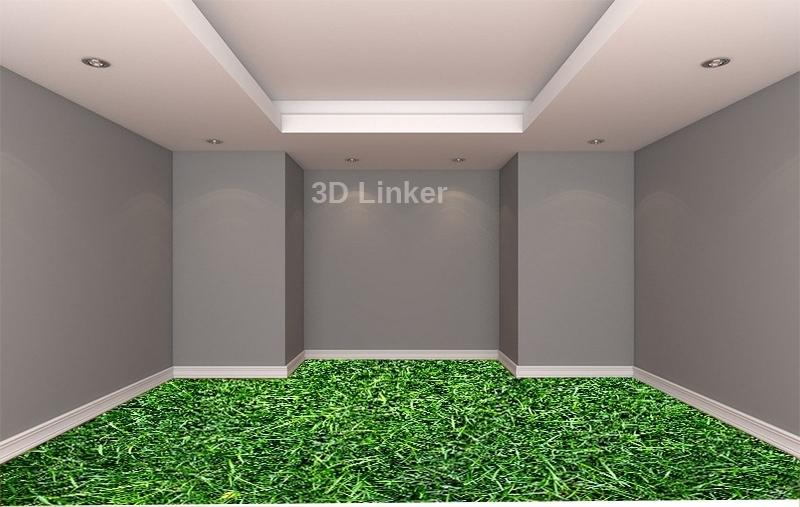 """Линолеум с рисунком """"Высокая зеленая трава"""" купить визуализация №3"""