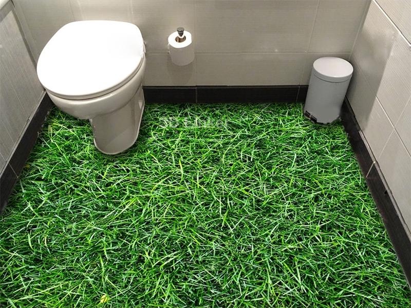"""Обои для пола в комнату """"Высокая зеленая трава"""" купить визуализация №2"""
