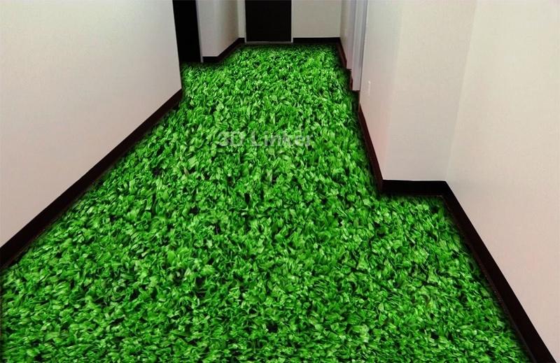 """Обои для пола в комнату """"Густая газонная трава"""" купить визуализация №1"""