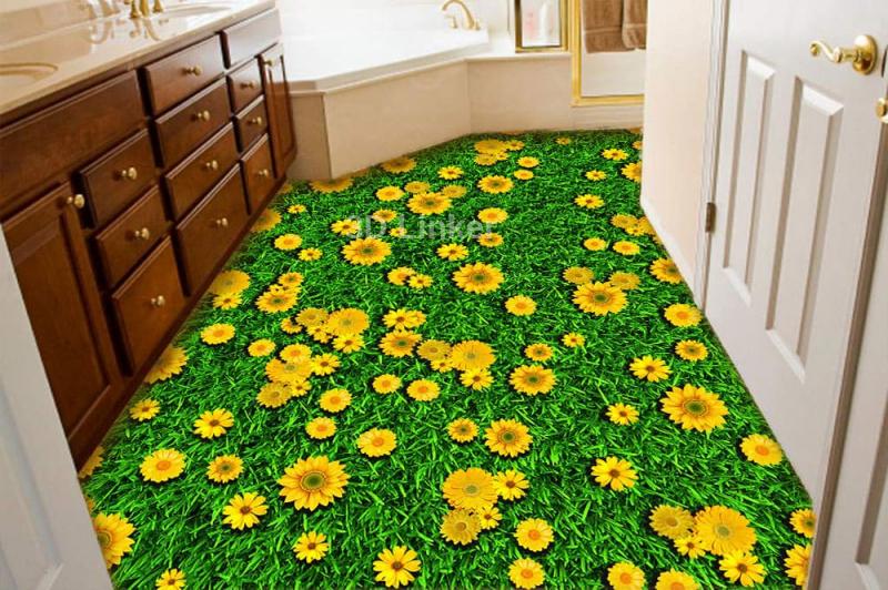 """Обои для пола в комнату """"Трава, желтые ромашки"""" купить в интерьере №1"""