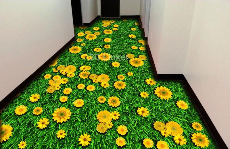 """Обои для пола в комнату """"Трава, желтые ромашки"""" купить в интерьере №2"""