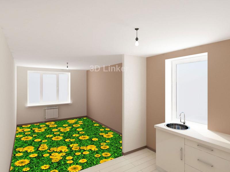 """Обои для пола в комнату """"Трава, желтые ромашки"""" купить в интерьере №3"""