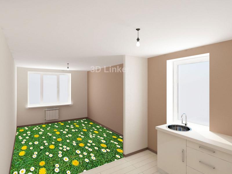 """Обои для пола в комнату """"Трава, белые и желтые ромашки"""" купить в интерьере №3"""