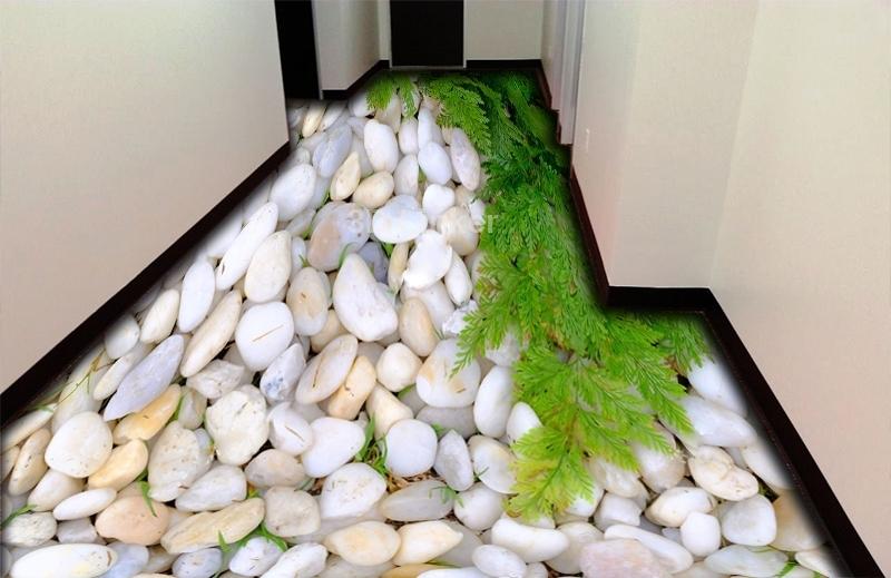 """Обои для пола в комнату  """"Белые камушки и папоротник, декор"""" купить визуализация №3"""