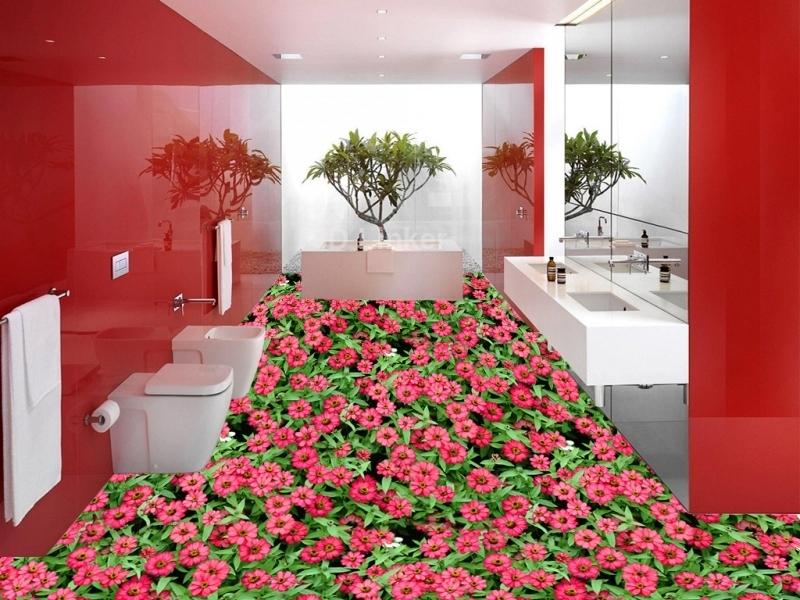 """3d обои для пола """" Цветы Лаватера розовые"""" купить визуализация №2"""