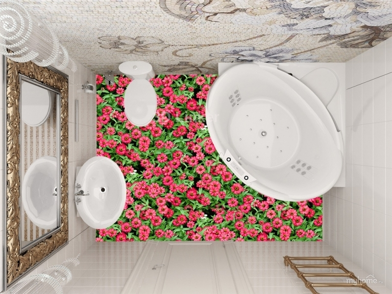 """3d обои для пола """" Цветы Лаватера розовые"""" купить визуализация №4"""