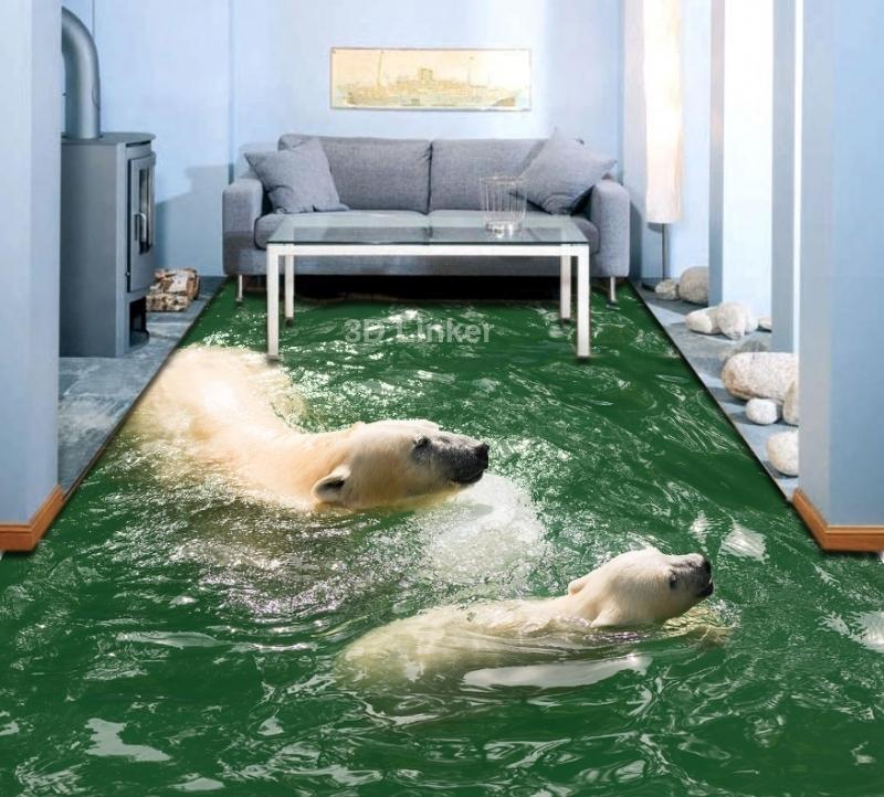 """3d обои для пола """"Белые медведи в воде"""" №1"""