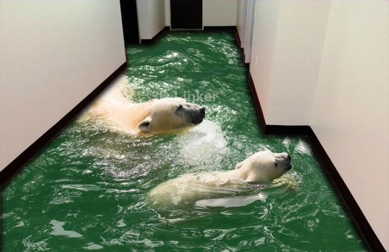 """3d обои для пола """"Белые медведи в воде"""" №2"""