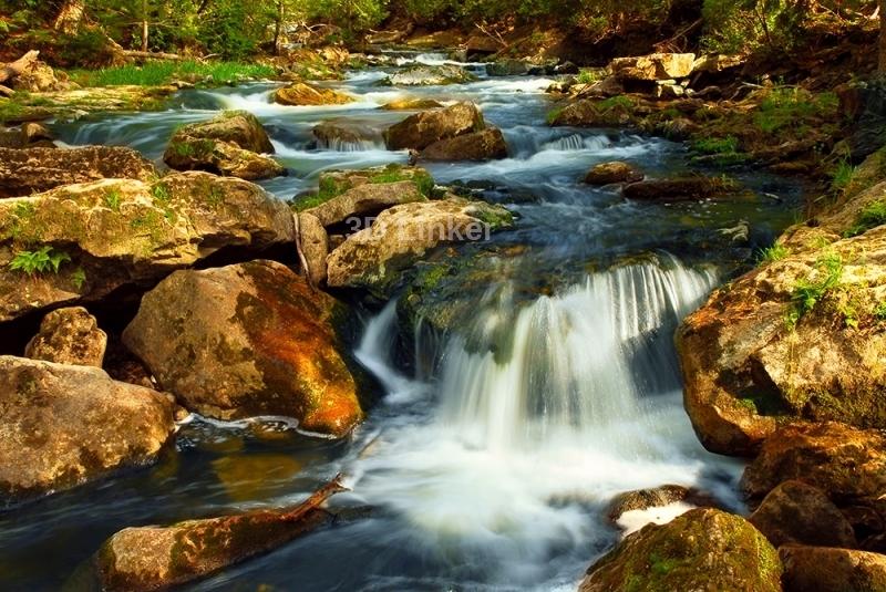 """3d обои для пола """"Водопад, большие камни""""  купить №4"""