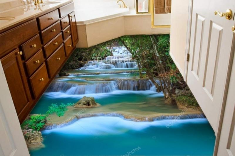 """3d обои для пола """"Каскадный водопад"""" купить визуализация №3"""