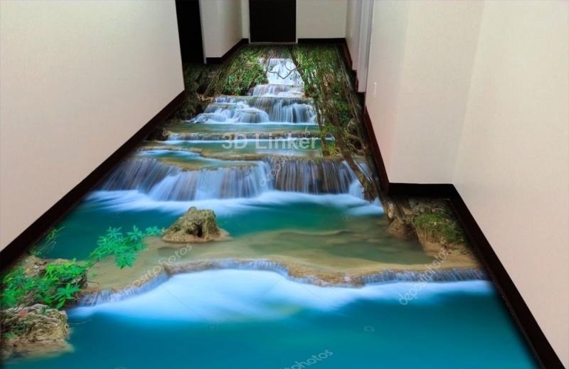 """3d обои для пола """"Каскадный водопад"""" купить визуализация №1"""