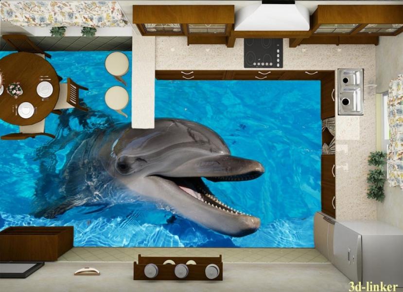 """3D обои для пола Фото Цена """"Весёлый Дельфин"""" вариант №1"""