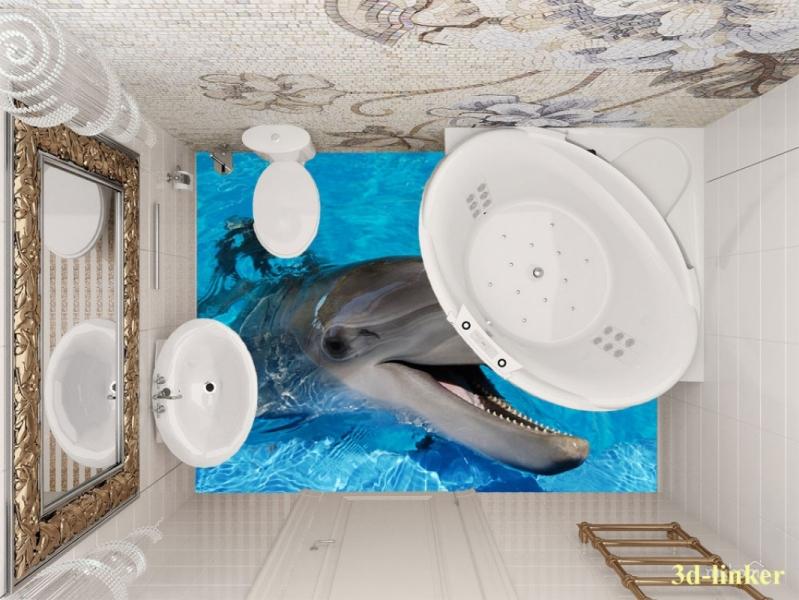 """3D обои для пола Фото Цена """"Весёлый Дельфин"""" вариант №2"""
