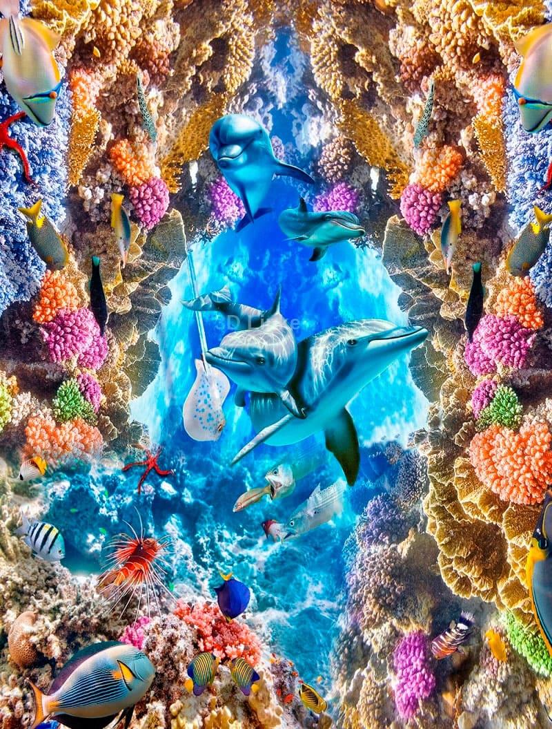"""Обои для пола """"Подводный мир, дельфины, на дне"""". Наклейка, печать для наливного пола."""