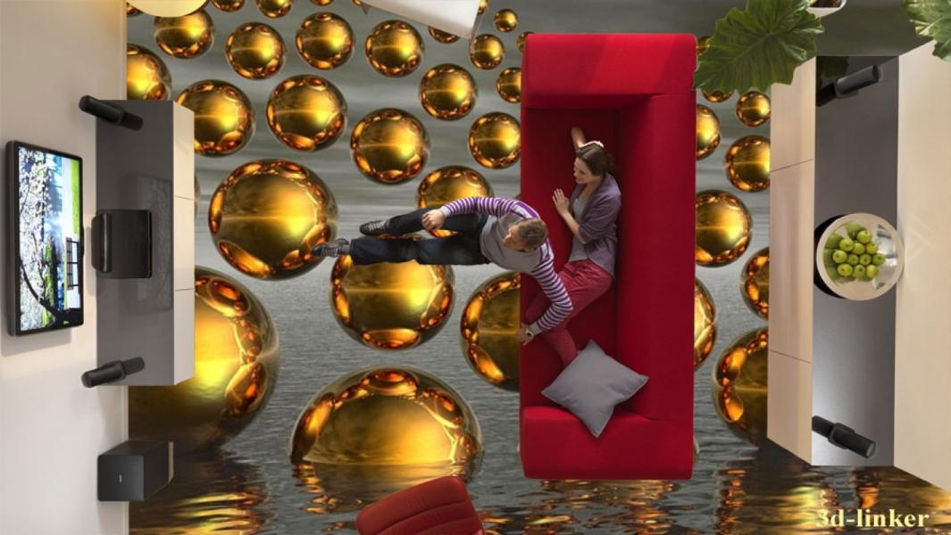 """3D обои для пола Фото Цена """"Абстракция Золотые шары"""" вариант №6"""