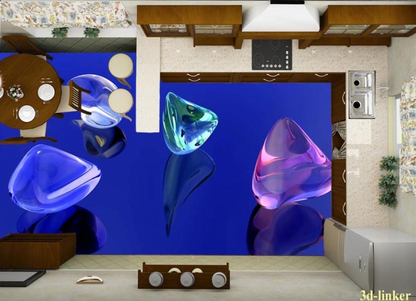 """3D обои для пола Фото Цена """"Стеклянные камни"""" вариант №1"""