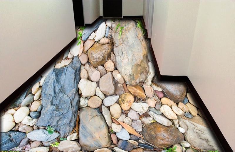 """Обои для пола в комнату """"Камни большие и маленькие"""" купить визуализация №2"""