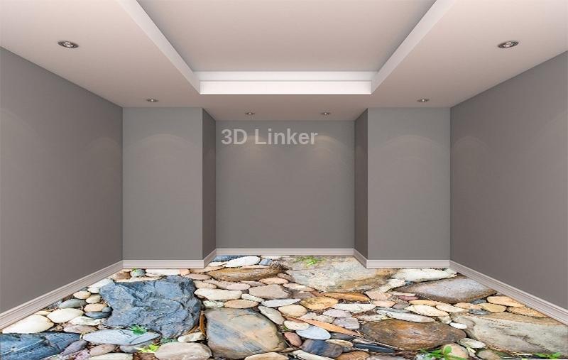 """Линолеум с рисунком """"Камни большие и маленькие"""" визуализация №2"""