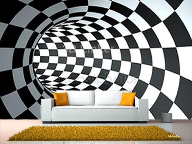 """Фотообои на стену купить """"Шахматная доска, тоннель"""" визуализация №1"""