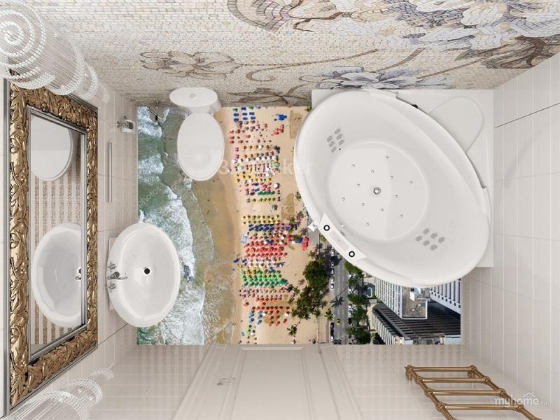 """Линолеум с рисунком """"Пляж, вид сверху"""" купить визуализация №3"""