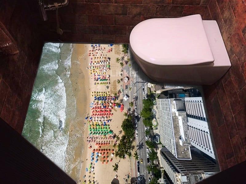 """Линолеум с рисунком """"Пляж, вид сверху"""" купить визуализация №2"""