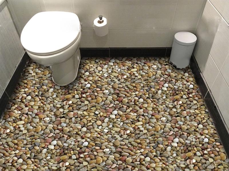 """Обои для пола в туалет """"Береговые камушки"""" купить визуализация №1"""