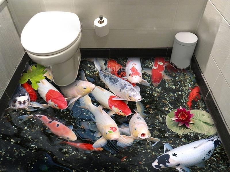 """Обои для пола в туалет """"Форель, пруд"""" купит визуализация №1"""