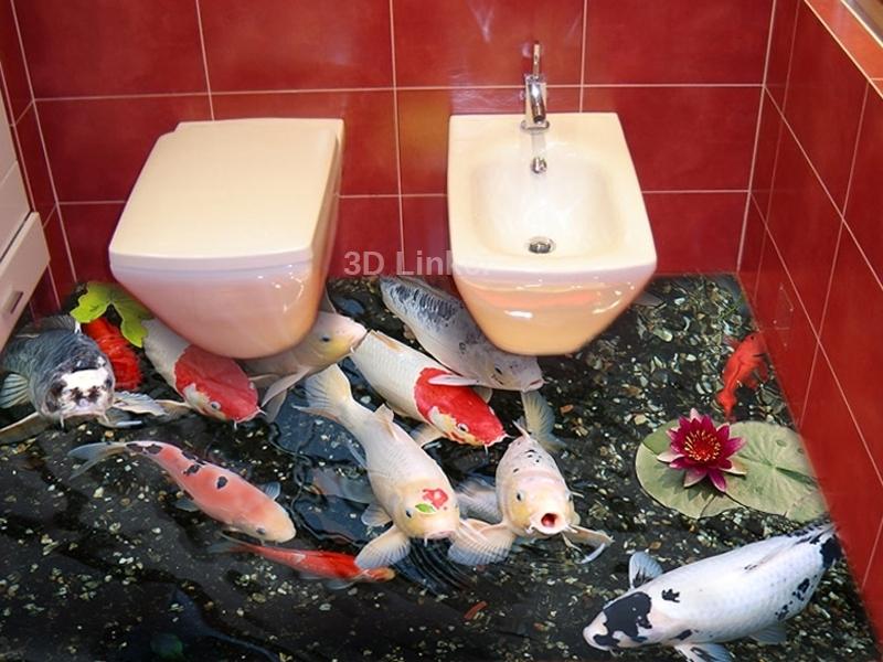"""Обои для пола в туалет """"Форель, пруд"""" купит визуализация №2"""