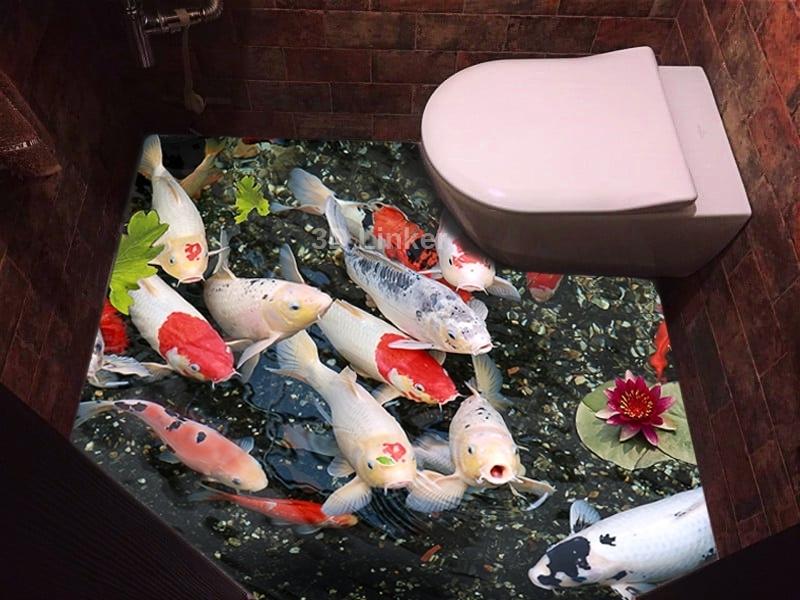 """Обои для пола в туалет """"Форель, пруд"""" купит визуализация №3"""
