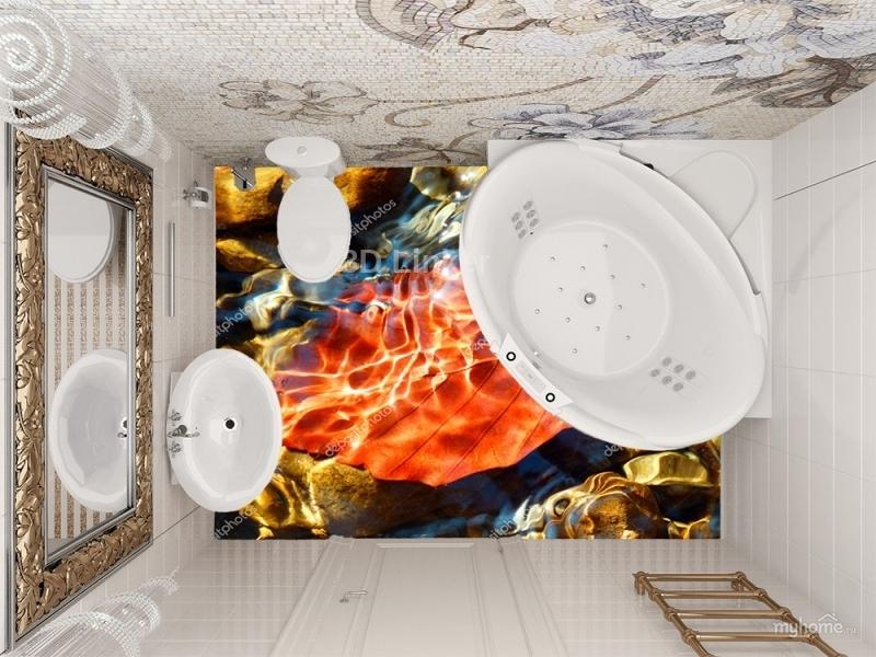 """Линолеум с рисунком """"Осенний лист, вода"""" купить визуализация №3"""