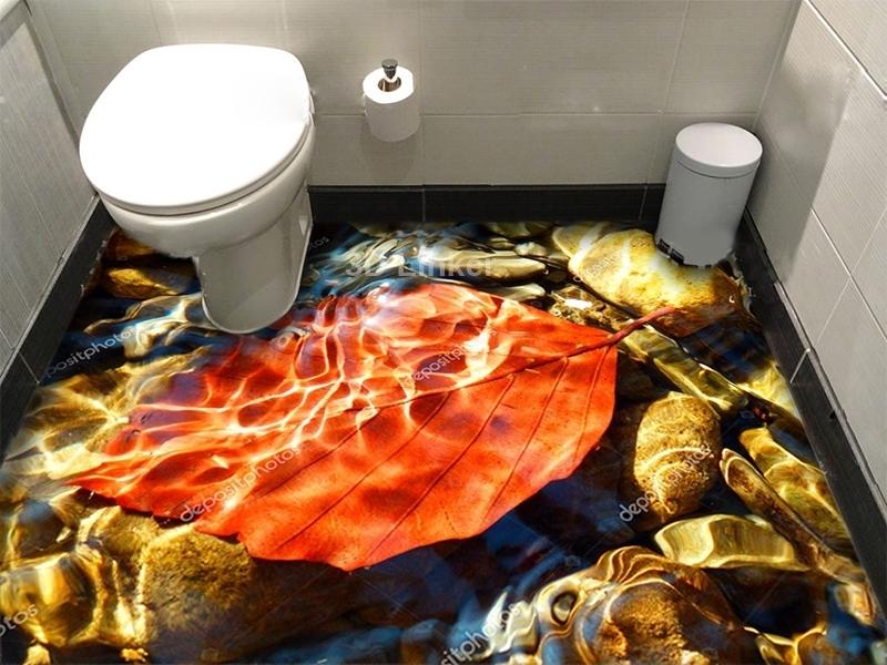 """Линолеум с рисунком """"Осенний лист, вода"""" купить визуализация №1"""