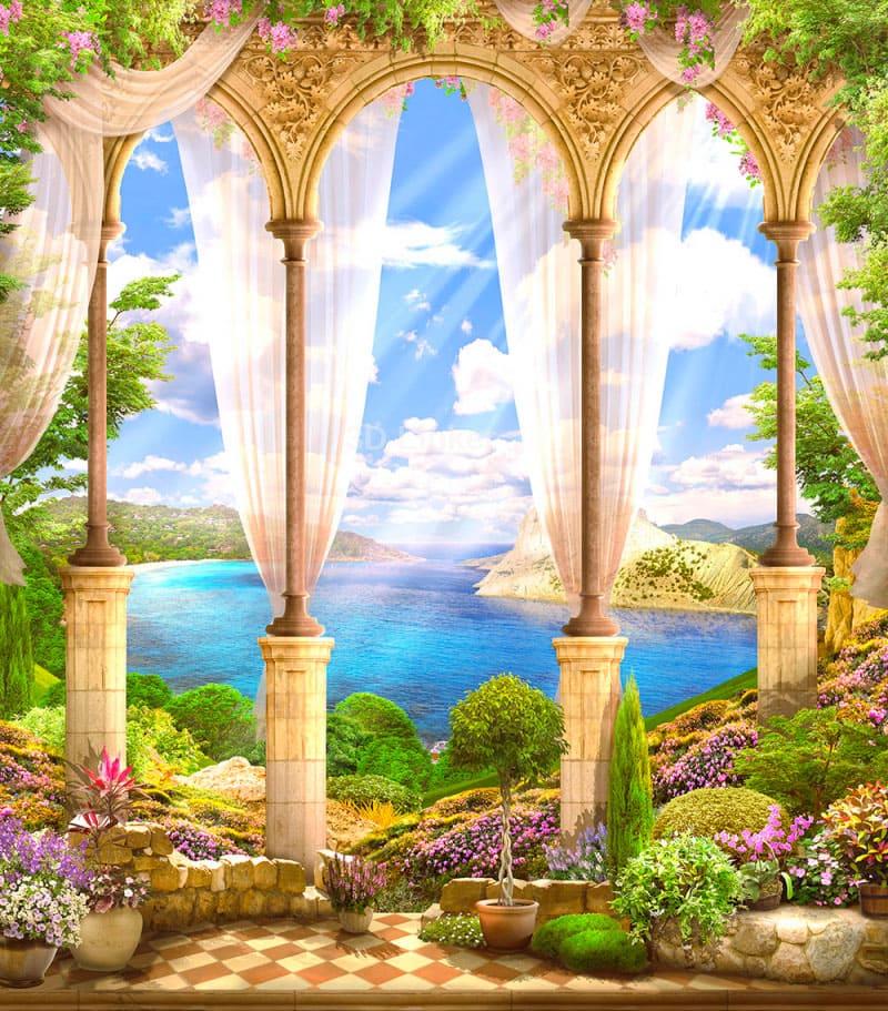"Фотообои Фреска ""Средневековая арка, вид на море"""