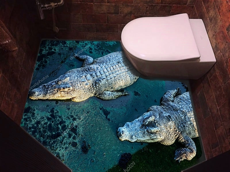 """Линолеум с рисунком """"Крокодилы"""" купить визуализация №3"""