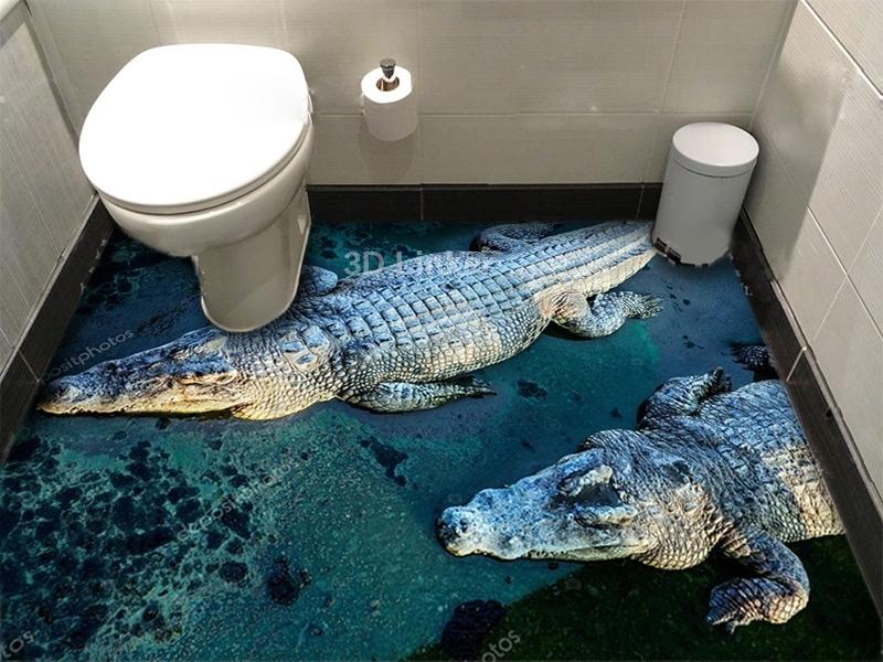 """Линолеум с рисунком """"Крокодилы"""" купить визуализация №2"""