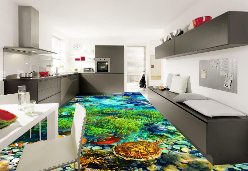 3D полы Своими руками! Технология укладки ПОДВОДНЫЙ МИР в интерьере зала кухни