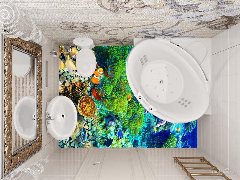 3D полы Своими руками! Технология укладки ПОДВОДНЫЙ МИР в интерьере зала ванной комнаты